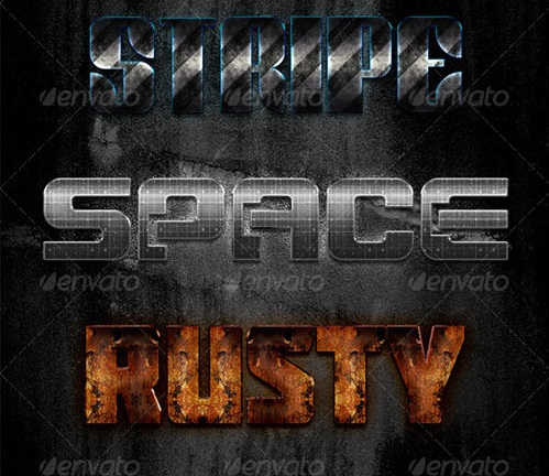 دانلود رایگان استایل فونت | Graphicriver - 15 New Premium Metal Text Effect Styles