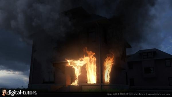 آموزش Digital Tutors - Creating Fire and Smoke using Maya Fluid Effects