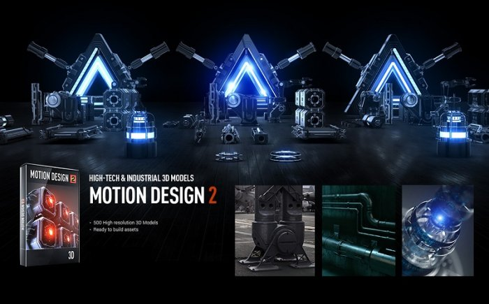 مدلهای سه بعدی Video Copilot - Motion Design v2 - Hight-Tech And Industrial 3D Models